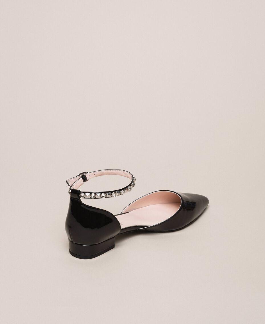 Лаковые туфли-балетки со стразами Черный женщина 201MCP01G-03