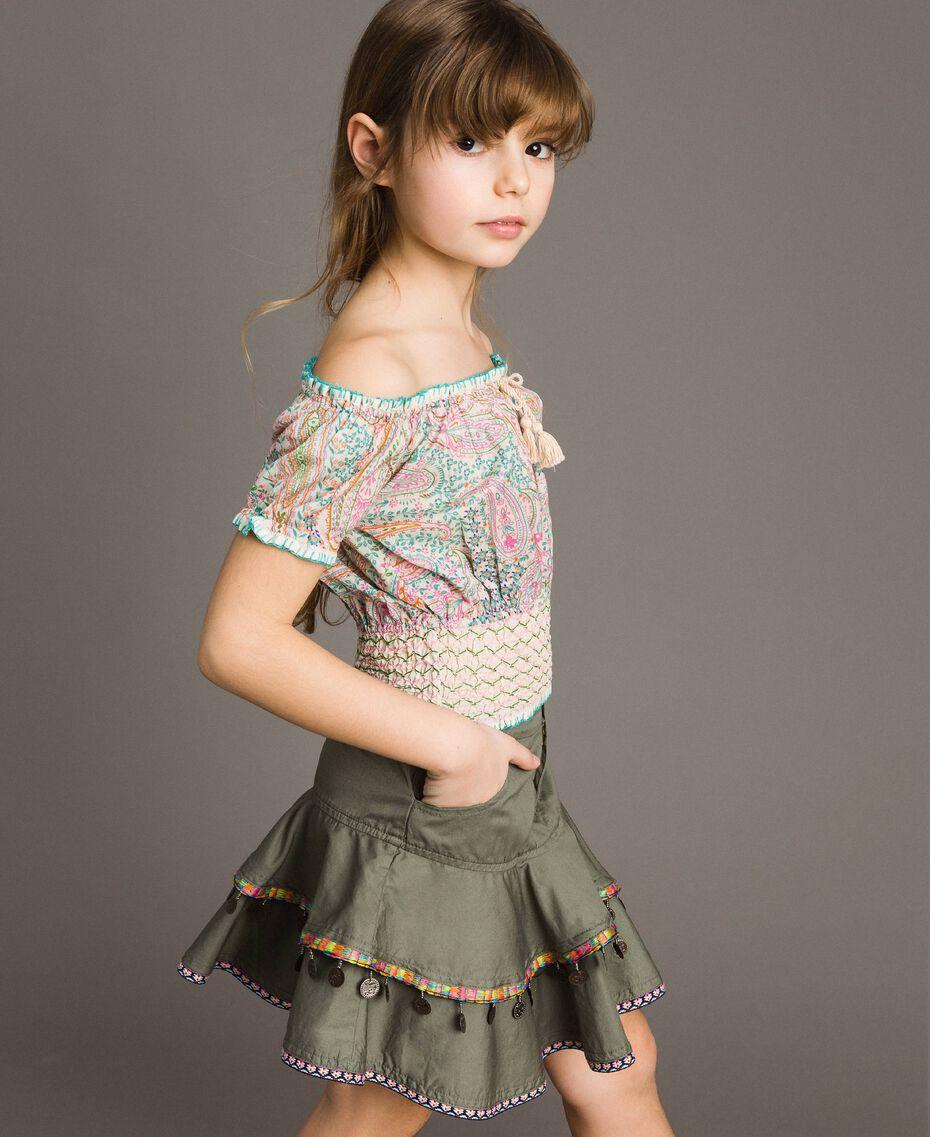 Gonna in cotone con medagliette Verde Tundra Bambina 191GJ2071-0S