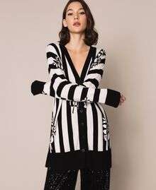 Maxi cardigan with print and slits Floral Print over Snow/ Black Stripes Woman 201TP3261-01