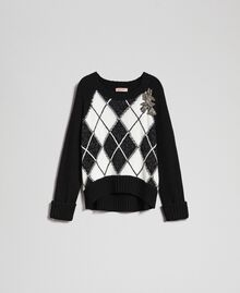 Boxy jumper with diamond patterned inlays and embroidery Inlay Black Woman 192TP3221-0S