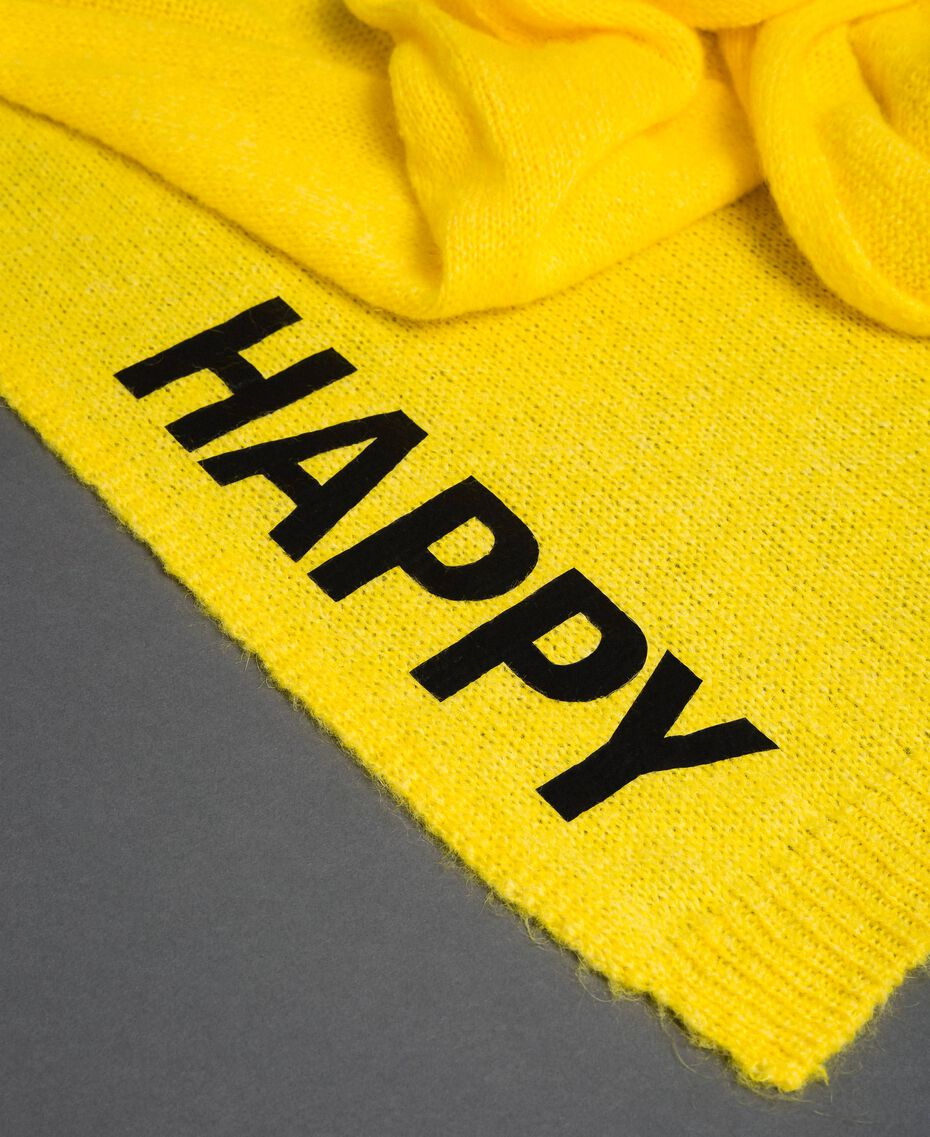 Knit scarf with lettering print Yellow Woman 192MO5304-02