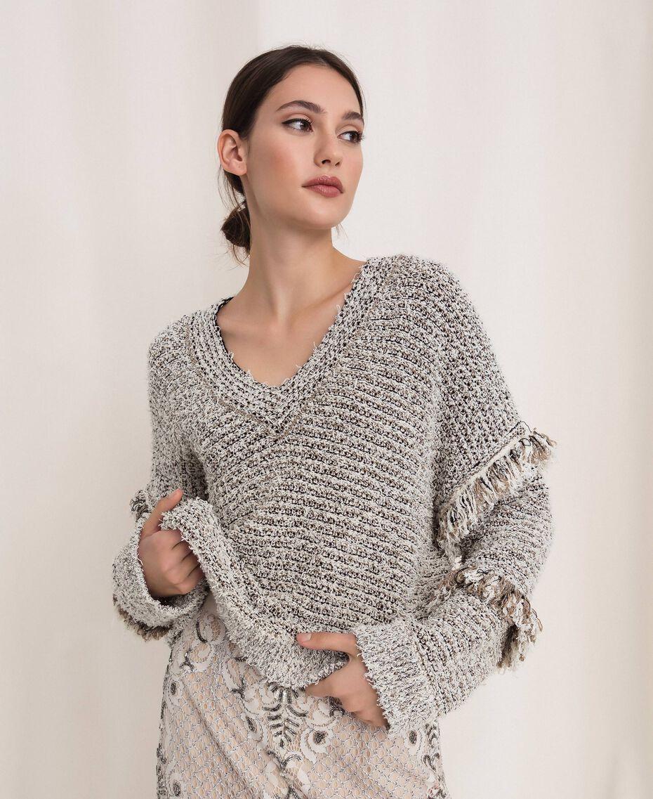 Пуловер из фасонной крученой пряжи с люрексом Разноцветный Слоновая кость / Черный женщина 201TP3162-01