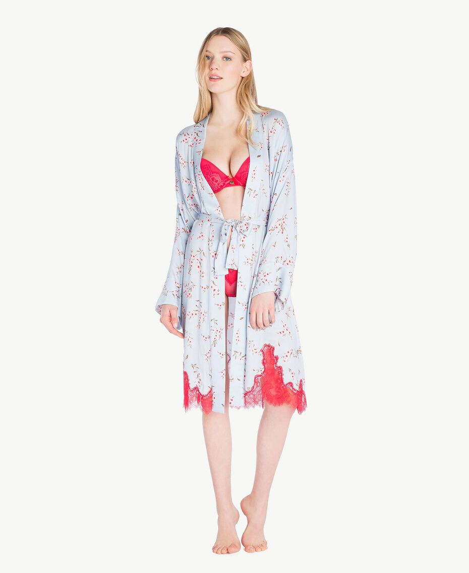 "Satin dressing gown ""Fairy Blue"" Microflower Print Woman LS8BHH-02"