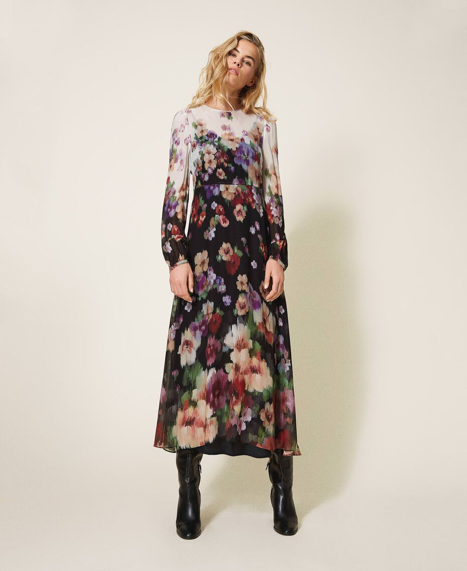 Длинное платье из жоржета с цветочным рисунком Принт Деграде Цветы Черный / Слоновая кость женщина 202TT2380-02