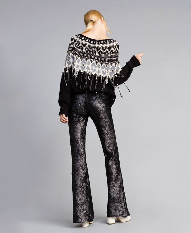 Pantaloni in full paillettes Nero Donna QA8TEF-03