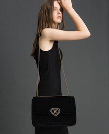 Grand sac à bandoulière en velours Noir Femme 192TO8070-0S