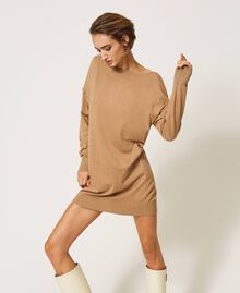 """Knit dress with removable sleeves """"Dune"""" Beige Woman 202MP3032-02"""
