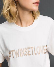 T-Shirt mit Metallic-Print Elfenbein Frau 192LI2RFF-04