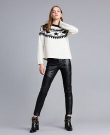 Studded jacquard jumper Bicolour Mother-of-pearl White / Black Woman JA83EA-0T