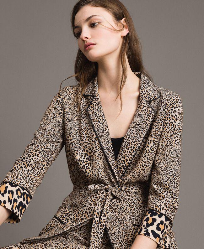 Animal print crêpe jacket Mixed Animal Print Woman 191TP2700-04