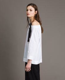 Poplin blouse with drawstring White Cream Woman 191MP2196-02