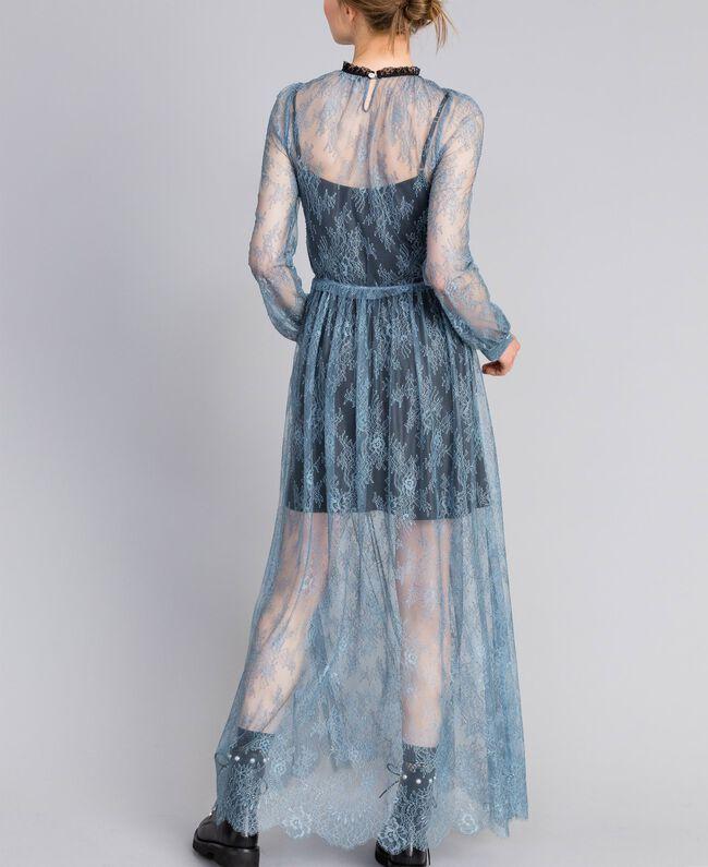 Long Valencienne lace dress Dusty Blue Woman PA82F2-03