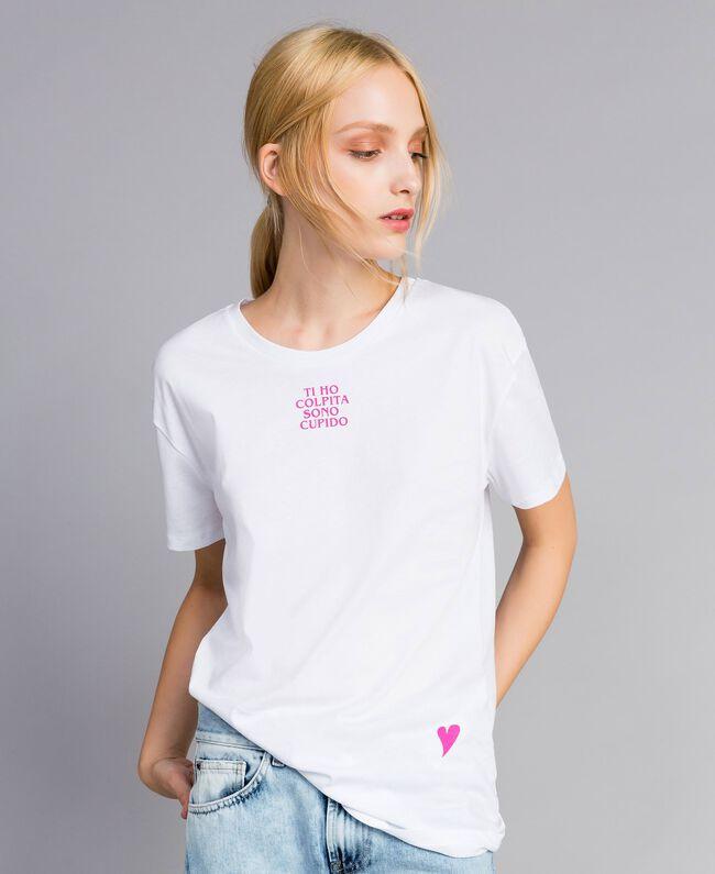 39df53c44b T-shirt unisexe adulte en coton avec imprimé Femme, Blanc | TWINSET ...