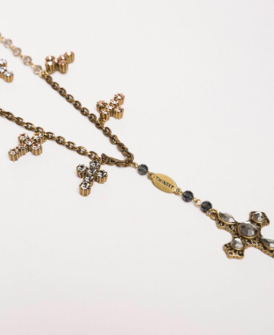 Sautoir avec croix et pendentif Noir Diamant Femme 201TO5305-02