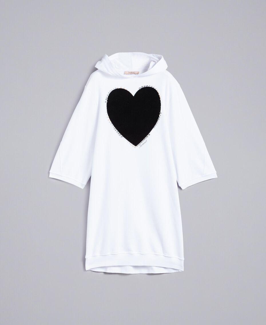 Kleid aus Baumwolle mit Flockherz Weiß Frau PA82CG-0S