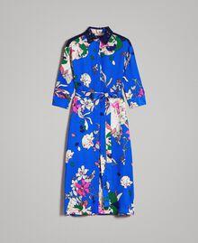 Satin-Hemd-Kleid mit Blumenmuster Motiv Windblumen Kornblumenblau Frau 191TP2454-0S