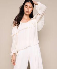 Blouse en crêpe georgette plissé Blanc Antique White Femme 201TT2090-01