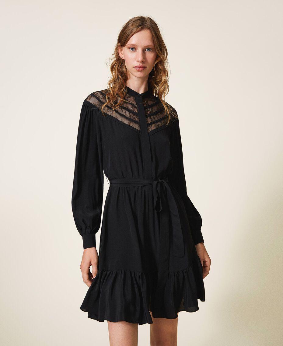 Robe en soie mélangée avec dentelle Noir Femme 202TT2240-01