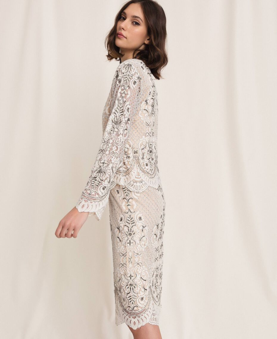 Lace jacket with embroidery Ivory Woman 201TP2460-02