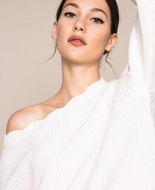 Пуловер квадратного кроя с фестонной отделкой Белый Снег женщина 201TP3021-04