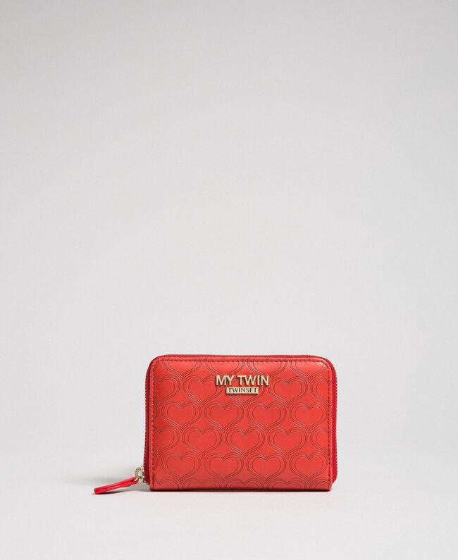 Kleine Geldbörse aus Lederimitat mit Herzprägung Rot Mohn Frau 192MA7016-01