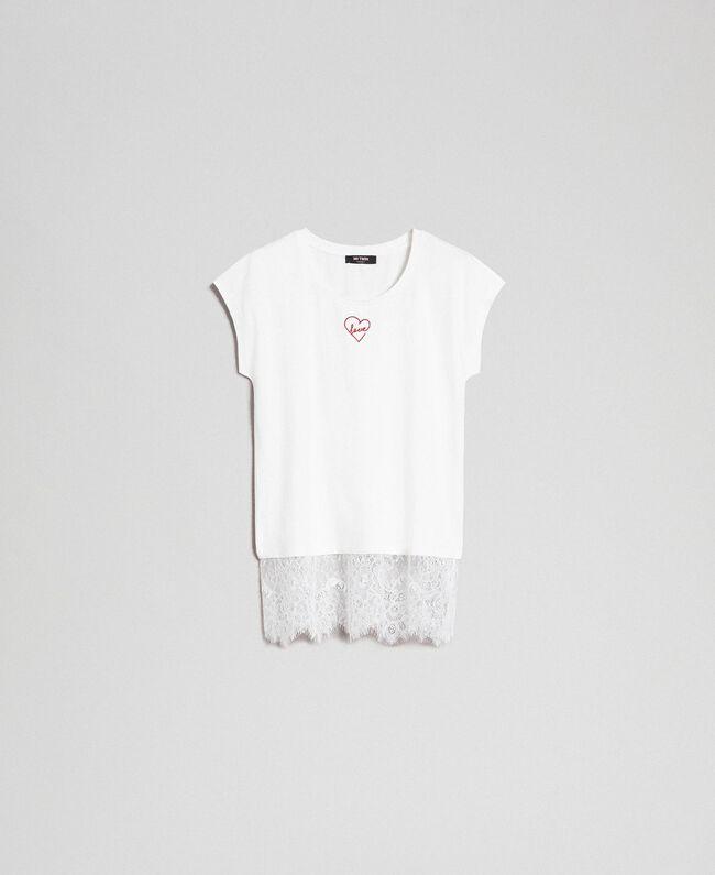 T-shirt con ricamo a cuore e pizzo al fondo Giglio Donna 192MP2431-0S