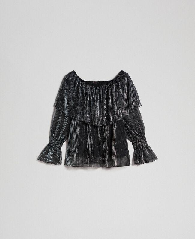 Blouse en tulle crépon métallique Noir / Argent Femme 192MT2142-0S
