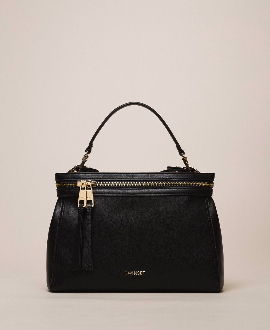 Large faux leather New Cécile bag Black Woman 201TO8180-01
