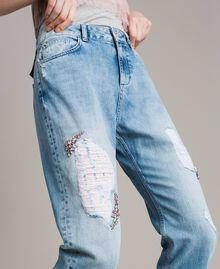 Jean girlfriend brodé et déchiré Bleu Denim Femme 191MP2480-04