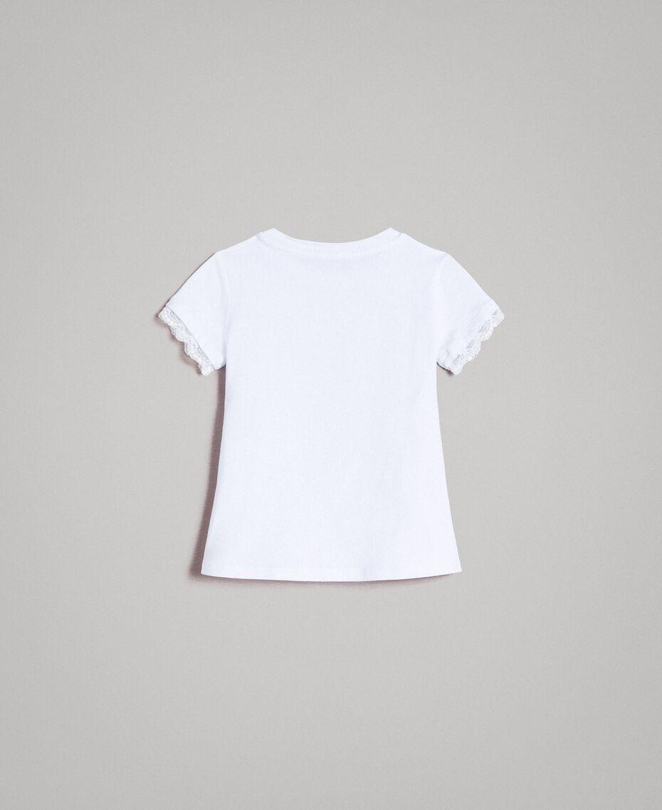 T-Shirt aus Jerseystoff mit Spitze Weiß Kind 191GB2180-0S