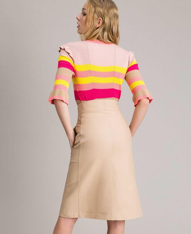 Technical cotton mid-length skirt Nougat Beige Woman 191TP2183-04
