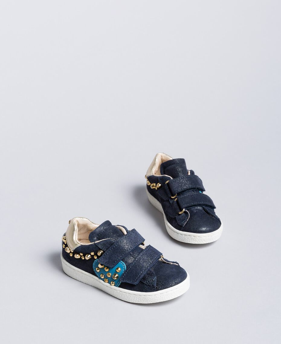 Suede sneakers with rivets Blackout Blue Child HA86BQ-02