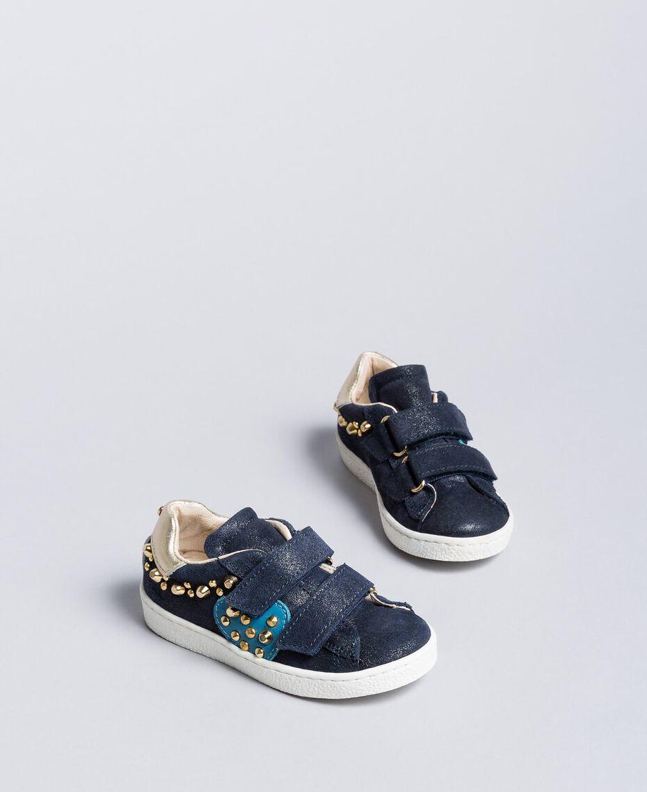 Sneakers aus Veloursleder mit Nieten Blackout Blau Kind HA86BQ-02