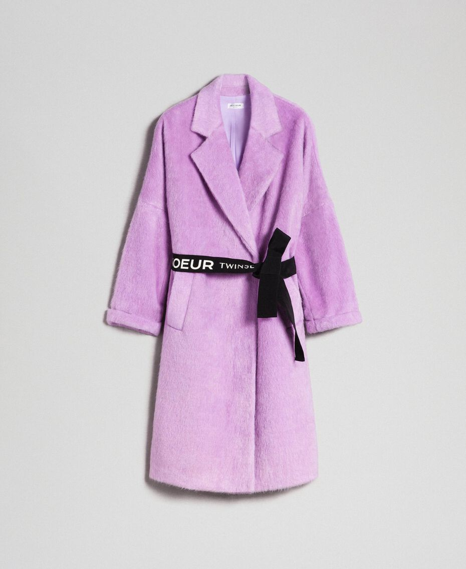 "Double breasted coat with lapels and belt ""Wisteria"" Purple Woman 192ST2180-0S"