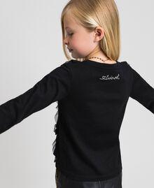 T-shirt con volant in tulle e collana Nero Bambina 192GJ2433-03