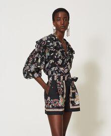 Blouse en mousseline avec imprimé floral Imprimé Fleur Indienne Noir Femme 211TT2563-02
