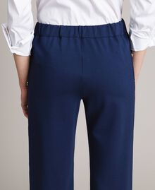 Drainpipe trousers with side slits and buttons Indigo Woman 191MP2155-04