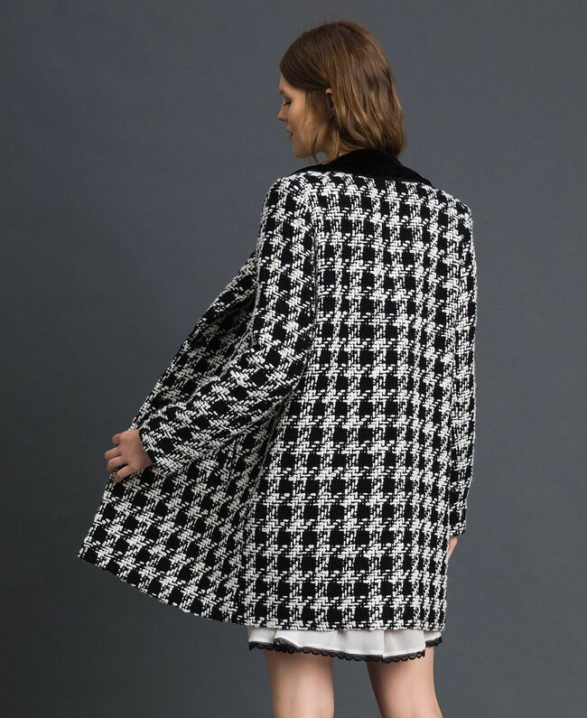 Houndstooth bouclé coat White / Black Houndstooth Woman 192TP2630-03