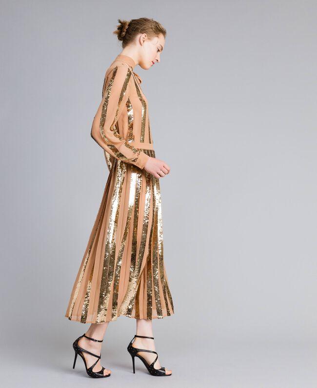 Jupe mi-longue en crêpe georgette avec paillettes Chameau Femme PA82J3-01