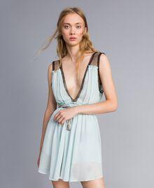 """Kleid mit floralem Print Blau """"Wasser"""" Frau QA8TNB-01"""