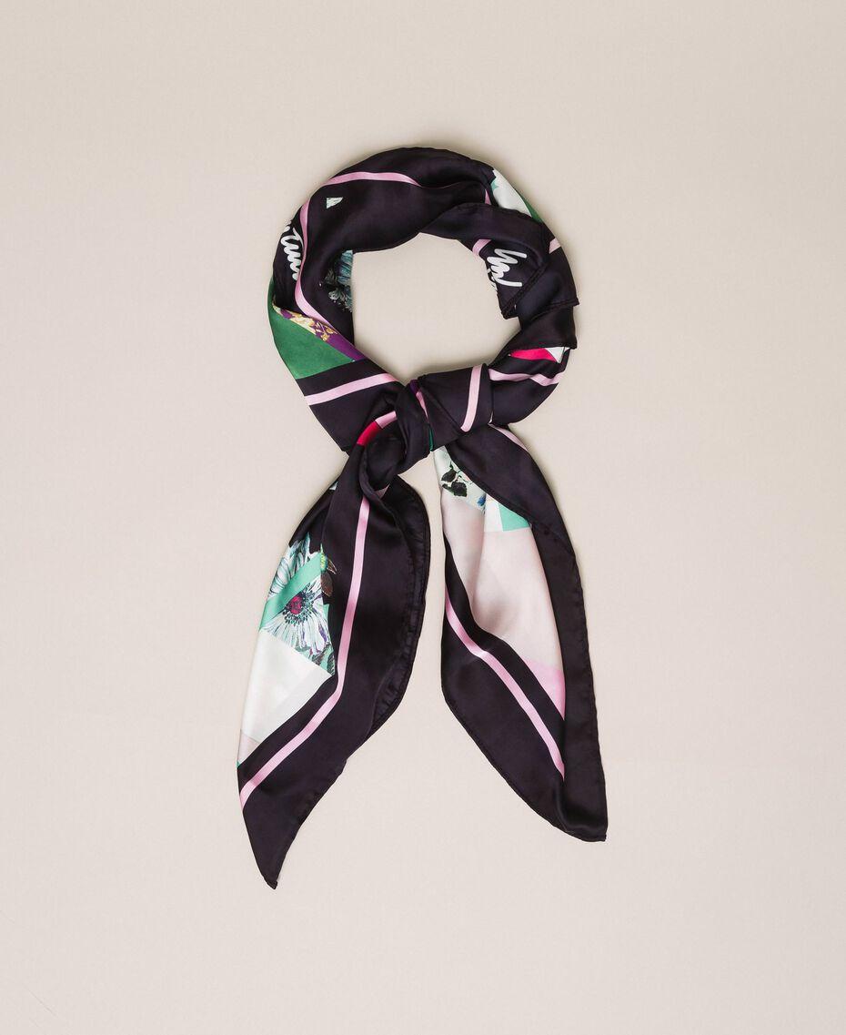 Платок с цветочным принтом Принт Платочный Черный женщина 201MA4303-01