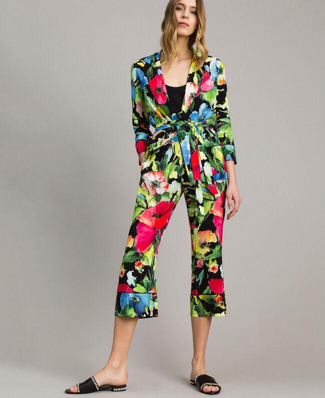 Marocain-Jacke mit Blumenmuster Motiv Schwarzer Garten Frau 191TT2470-01