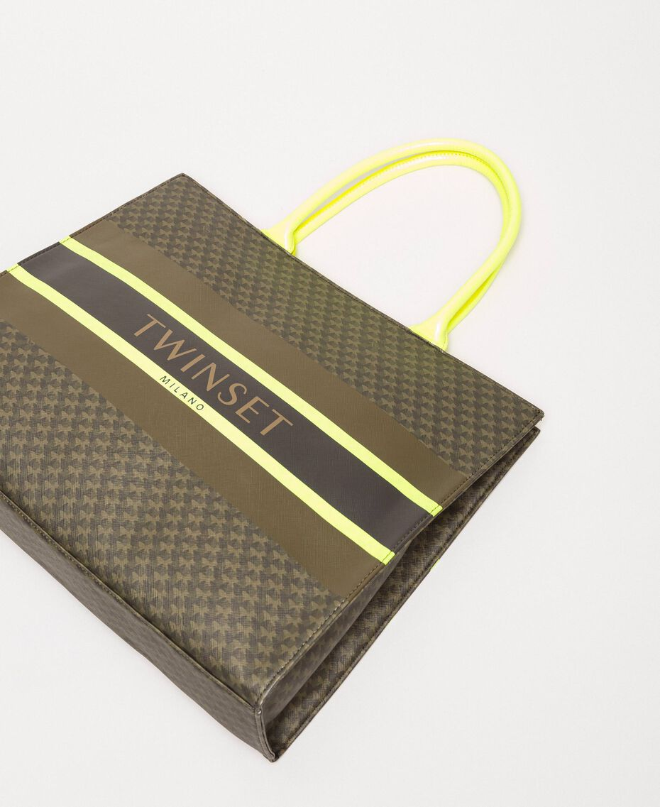 """Butterfly print faux leather shopper """"Camouflage"""" Green Butterfly Print / Fluo Yellow Woman 201TA7240-03"""