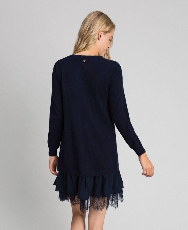 Robe en laine mélangée avec dentelle Indigo Femme 192MT3281-03