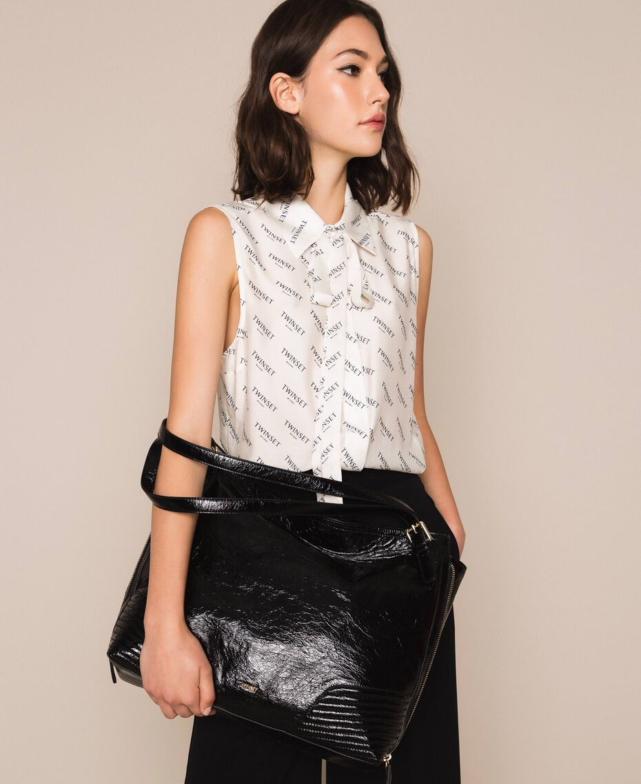 Sheer leather Rebel hobo bag Black Woman 201TO823V-0S