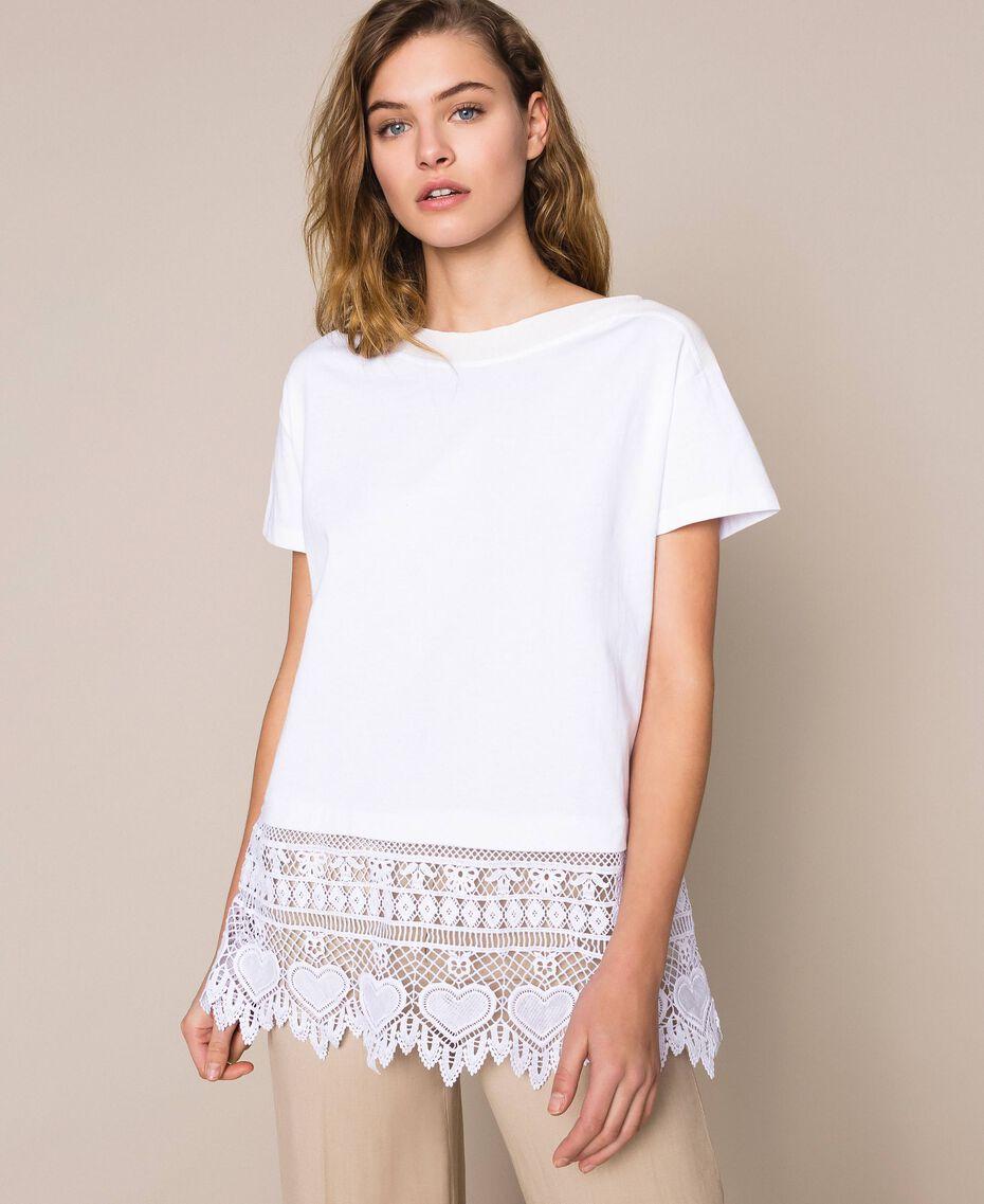 Maxi t-shirt avec broderie macramé Blanc Femme 201LM2HCC-01