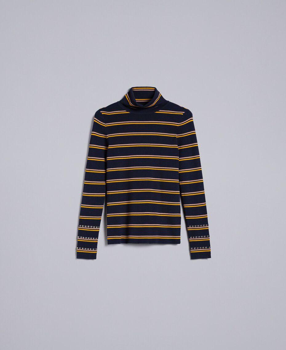 Two-tone striped viscose mock neck jumper Night Blue / Golden Yellow / Caramel Stripe Woman YA83DD-0S