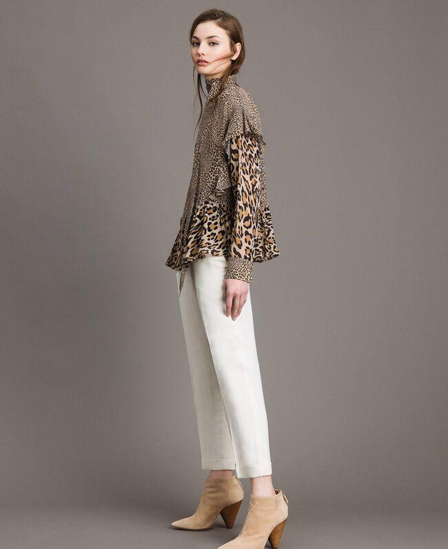 Animal print georgette blouse Mixed Animal Print Woman 191TP2721-01