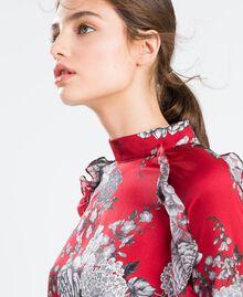 """Kleid aus Twill mit Blumenprint Print """"Blume"""" Rotbraun Frau LA8KSS-04"""