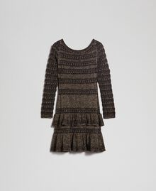 Lurex knit dress with flounces Black Striped / Lurex Woman 192TT3221-0S